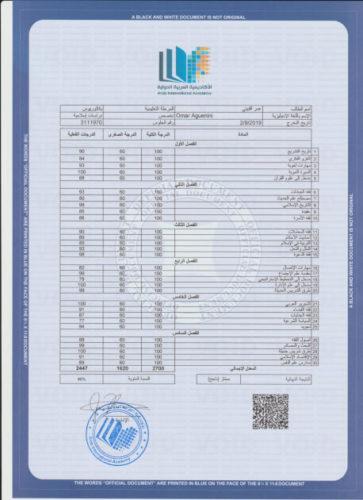 نموذج كشف علامات لدرجة البكالوريوس في الدراسات الإسلامية